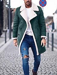abordables -Homme Quotidien Normal Manteau, Couleur Pleine Col rabattu Manches Longues Polyester Noir / Vert / Gris