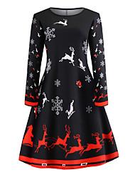 cheap -Women's Black Dress Basic Christmas Party Daily Wear Swing Geometric S M