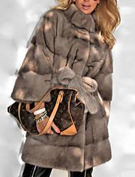 abordables -Femme Quotidien Automne hiver Normal Manteau de fausse fourrure, Couleur Pleine Col roulé Manches Longues Polyester Gris Foncé