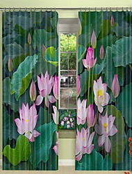 abordables -lotus impression numérique 3d rideau dans la piscine rideau d'ombrage haute précision tissu de soie noire de haute qualité rideau