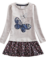 cheap -Baby Girls' Boho Butterfly Floral Jacquard Embroidered Long Sleeve Knee-length Dress Gray