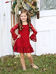 cheap -Kids Toddler Girls' Active Sweet Solid Colored Christmas Lace Long Sleeve Knee-length Dress Red