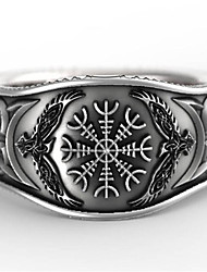 cheap -Men's Ring 1pc Silver Silver-Plated Geometric Vintage Daily Holiday Jewelry Geometrical Flower Cool