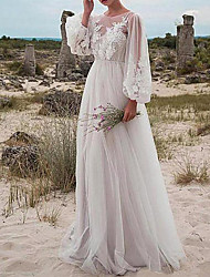 cheap -A-Line Wedding Dresses Jewel Neck Floor Length Tulle Long Sleeve Romantic Beach Boho See-Through Illusion Sleeve with Appliques 2021