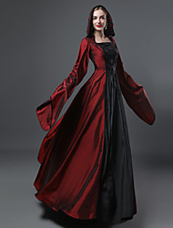 cheap -Queen Victoria Gothic Lolita Victorian Dress Women's Girls' Satin Cotton Party Prom Japanese Cosplay Costumes Plus Size Customized Red Ball Gown Patchwork Poet Sleeve Long Sleeve Long Length