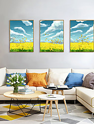 cheap -Framed Art Print Framed Set - Landscape Floral / Botanical PS Oil Painting Wall Art