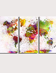 cheap -Print Rolled Canvas Prints Stretched Canvas Prints - Abstract Maps Modern Three Panels Art Prints