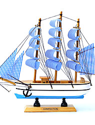 cheap -Sailboat Model with Led String Model Kits Retro Ship Crafts Handmade Wooden Sailing Boats Kids Toys Gift Home Decor Random Color