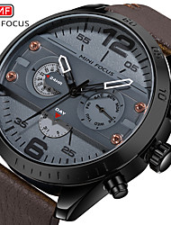 cheap -MINI FOCUS Men's Dress Watch Quartz Formal Style Modern Style Leather 30 m Water Resistant / Waterproof Casual Watch Large Dial Analog Classic Fashion - Black Brown Black / Yellow