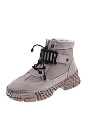 cheap -Women's Boots Creepers Round Toe Stitching Lace Satin Booties / Ankle Boots Casual Walking Shoes Fall & Winter Pink / Beige