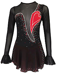 cheap -21Grams Figure Skating Dress Women's Girls' Ice Skating Dress Black Spandex Micro-elastic Training Skating Wear Classic Crystal / Rhinestone Long Sleeve Ice Skating Figure Skating