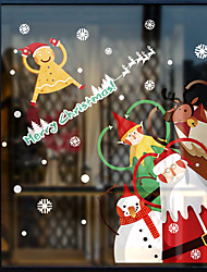 cheap -Window Film & Stickers Decoration Patterned / Christmas Geometric / Character PVC(PolyVinyl Chloride) Window Sticker / Door Sticker / Funny