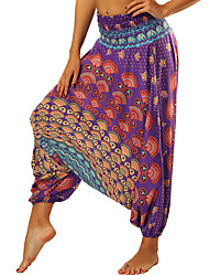 cheap -Women's Yoga Pants Harem 3D Print Violet Light Blue Light Purple Blue Dark Blue Dance Fitness Gym Workout Bloomers Sport Activewear Breathable Quick Dry Soft Loose