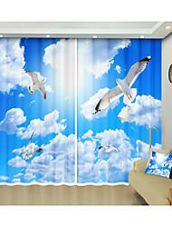 cheap -White Pigeon Blue Sky White Cloud Digital Printing Creative 3D Curtain Shade Curtain High Precision Black Silk Fabric High Quality First Class Shade Curtain