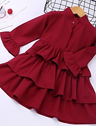 cheap -Kids Girls' Solid Colored Ruffle Dress Red