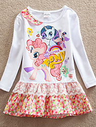 cheap -Kids Girls' Sweet Horse Animal Cartoon Print Long Sleeve Above Knee Dress White / Cotton