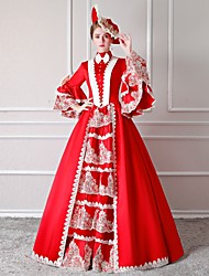 cheap -Rococo Victorian 18th Century Dress Party Costume Masquerade Women's Lace Cotton Costume Red Vintage Cosplay Party Prom Floor Length Long Length Ball Gown / Floral / Hat