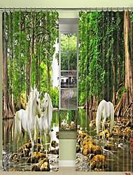 cheap -White Horse digital printing in The Jungle 3D Curtain Shading Curtain High Precision Black Silk Fabric High Quality Curtain