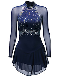 cheap -Figure Skating Dress Women's Girls' Ice Skating Dress Black White Sky Blue Spandex Stretch Yarn Skating Wear Quick Dry Anatomic Design Handmade Classic Long Sleeve Ice Skating Figure Skating