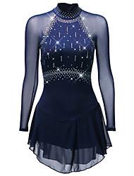 abordables -Robe de Patinage Artistique Femme Fille Patinage Robes Noir Blanche Bleu Ciel Spandex Fil élastique Tenue de Patinage Séchage rapide Design Anatomique Fait à la main Classique Manches Longues