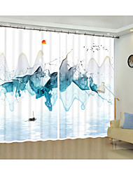 cheap -Water Blue Creative Landscape Painting Environmental Protection Digital Printing 3D Curtain Shading Curtain High Precision Black Silk Fabric High Quality First-class Shading Bedroom Living Room Curtai