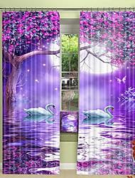 cheap -White Swan Digital Printing in Purple Wonderland 3D Window Shade Curtain High Precision Black Silk Fabric High Quality Curtain