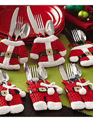 cheap -6pcs Christmas Cutlery Table Bag  Cutlery Pocket Knife Tableware Bag Santa Claus Dinner Table Home Decoration