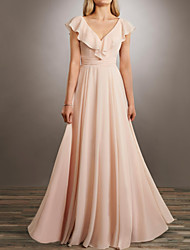 cheap -A-Line Plunging Neck Floor Length Chiffon Bridesmaid Dress with Ruching / Ruffles / Open Back