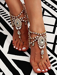 cheap -Women's High End Crystal Barefoot Sandals feet jewelry Tassel Flower Ladies Bohemian Fashion Boho Indian Anklet Jewelry Gold / Silver For Daily Casual Cosplay Costumes / Rhinestone