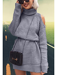 cheap -Women's Blushing Pink Khaki Dress Street chic Daily Wear Sheath Sweater Solid Colored Turtleneck S M