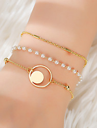 cheap -3pcs Women's Vintage Bracelet Earrings / Bracelet Layered Lucky Simple Classic Fashion Cute Elegant Imitation Pearl Bracelet Jewelry Gold For Gift Daily School Holiday Festival