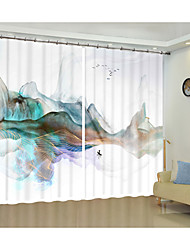 cheap -Watercolor Modern Art Style Painting Creative Digital Printing 3D Curtain Shading Curtain High Precision Black Silk Fabric High Quality First-class Shading Bedroom Living Room Curtain