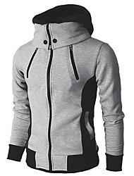 cheap -Men's Daily EU / US Size Regular Jacket, Color Block Hooded Long Sleeve Polyester Dark Gray / Beige / Gray