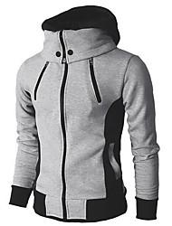 abordables -Homme Quotidien Taille EU / US Normal Veste, Bloc de Couleur Capuche Manches Longues Polyester Gris Foncé / Beige / Gris