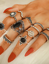 cheap -Women's Ring Ring Set 12pcs Silver Rhinestone Alloy irregular Vintage Trendy Fashion Daily Street Jewelry Vintage Style Crown Pear