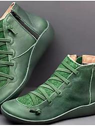 cheap -Women's Sneakers Wedge Heel Round Toe PU Classic / Minimalism Walking Shoes Fall & Winter Black / Light Brown / Green