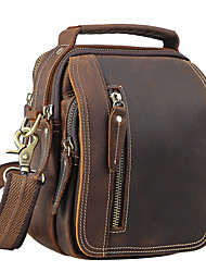 cheap -Men's Zipper Cowhide Crossbody Bag Solid Color Brown