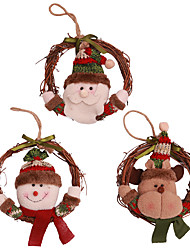 cheap -Christmas Hanging Ornaments Rattan Wreath Circle Santa Claus Snowman Elk Hanging