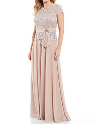 cheap -A-Line Mother of the Bride Dress Plus Size Jewel Neck Floor Length Chiffon Lace Short Sleeve with Sash / Ribbon Crystals 2020