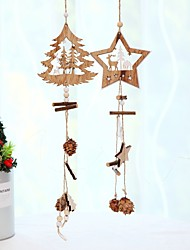 cheap -2pcs Wooden Angel Doll Home Decor Elk Hanging Christmas Tree Decoration Crafts Christmas Gift