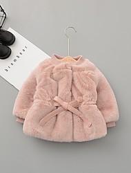 Недорогие -малыш Девочки Уличный стиль Однотонный На пуховой / хлопковой подкладке Розовый / Дети (1-4 лет)