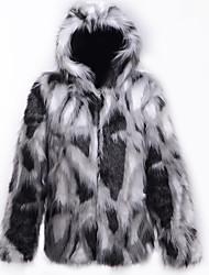 cheap -Men's Daily Fall & Winter Regular Faux Fur Coat, Color Block Hooded Long Sleeve Faux Fur Black