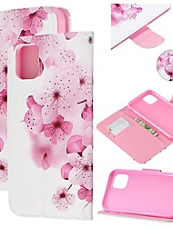 cheap -Case For Apple iPhone 11 / iPhone 11 Pro / iPhone 11 Pro Max Wallet / Card Holder / with Stand Full Body Cases Flower PU Leather