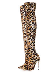 cheap -Women's Boots Over-The-Knee Boots Stiletto Heel Pointed Toe Elastic Fabric Thigh-high Boots Fall & Winter Leopard