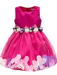cheap -Kids Toddler Girls' Active Cute Rose Solid Colored Floral Bow Drawstring Sleeveless Knee-length Dress White