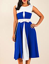 cheap -Women's Swing Dress Midi Dress Black Blue Red Sleeveless Round Neck S M L XL XXL 3XL 4XL 5XL
