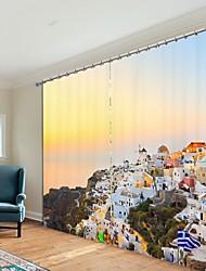 abordables -ville impression numérique sous le soleil couchant 3d rideau rideau d'ombrage haute précision noir tissu de soie rideau de haute qualité