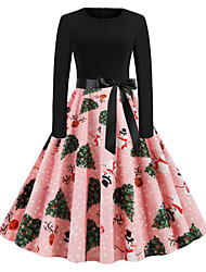 cheap -Women's Snowman Trumpet / Mermaid Dress - Long Sleeve Geometric Patchwork Print Elegant Street chic Christmas Party Festival Slim Blushing Pink S M L XL XXL