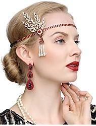 cheap -The Great Gatsby Vintage 1920s The Great Gatsby Flapper Headband Women's Costume Earrings Black / Golden / Golden+Black Vintage Cosplay Festival / 1 Pair of Earrings / Headwear / 1 Pair of Earrings