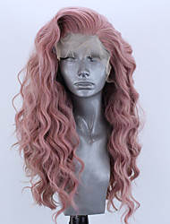 cheap -Synthetic Lace Front Wig Wavy Side Part Lace Front Wig Long Pink Bleach Blonde#613 Green Black / Grey Purple Synthetic Hair 18-26 inch Women's Adjustable Heat Resistant Party Pink
